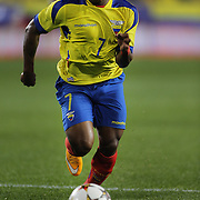 Joao Plata, Ecuador, in action during the Ecuador Vs El Salvador friendly international football match at Red Bull Arena, Harrison, New Jersey. USA. 14th October 2014. Photo Tim Clayton
