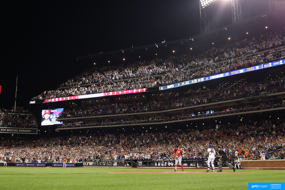 Bryce Harper, Washington Nationals, is struck out by Pitcher Noah Syndergaard, New York Mets, in the eighth inning during the New York Mets Vs Washington Nationals MLB regular season baseball game at Citi Field, Queens, New York. USA. 2nd August 2015. Photo Tim Clayton