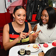 Pandora Christie is a presenter and Tinea Taylor is a DJ attend Brigits Bakery host their Pink Ribbon Afternoon Tea in aid of the Pink Ribbon Foundation, London, UK. 16 October 2018.