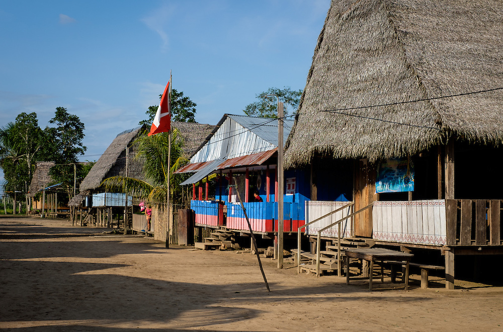 LORETO, PERU - CIRCA OCTOBER 2015:  Main Street in the Village of Puerto Miguel, in the Yarapa river in the Peruvian Amazon.