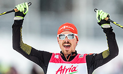 21.02.2016, Salpausselkae Stadion, Lahti, FIN, FIS Weltcup Nordische Kombination, Lahti, Langlauf, im Bild Sieger Fabian Riessle (GER) // Winner Fabian Riessle of Germany celebrate during Cross Country Gundersen Race of FIS Nordic Combined World Cup, Lahti Ski Games at the Salpausselkae Stadium in Lahti, Finland on 2016/02/21. EXPA Pictures © 2016, PhotoCredit: EXPA/ JFK