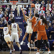 UNCASVILLE, CONNECTICUT- DECEMBER 4: Napheesa Collier #24 of the Connecticut Huskies blocks a shot by Brianna Taylor #20 of the Texas Longhorns during the UConn Huskies Vs Texas Longhorns, NCAA Women's Basketball game in the Jimmy V Classic on December 4th, 2016 at the Mohegan Sun Arena, Uncasville, Connecticut. (Photo by Tim Clayton/Corbis via Getty Images)