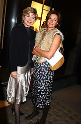 Left to right, ISSY VAN RANDWYCK and LUCY CLIVE at a party to celebrate the launch of The Monneypenny Diaries at Smythson, 40 New Bond Street, London W1 on 4th October 2005.<br />
