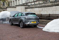 A balloon fed by the exhaust inflates with completely clean air as Hyundai UK demonstrates the Hydrogen-powered Nexo that not only produces completely clean emissions but also cleans up the air its engine ingests, thanks to a filtration system developed by scientists at University College London. UCL London, October 17 2018.