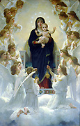The Virgin with Angels', 1900.  William-Adolphe Bouguereau (1825-1905) French academic painter. Virgin enthroned, holding infant Jesus, surrounded by adoring angels. Religion Christian