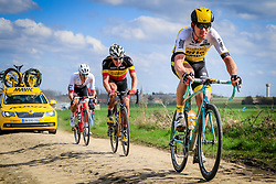 Riders in action on pave sector 11 Auchy-lez-Orchies a Bersee during the 114th edition of  Paris Roubaix 2016 race running 255.5km from Compiegne to Roubaix, France. 10th April 2016.<br /> Photo by Eoin Clarke / PelotonPhotos.com<br /> <br /> All photos usage must carry mandatory copyright credit (&copy; Peloton Photos | Newsfile | Eoin Clarke)