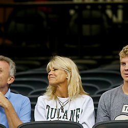 Sep 7, 2013; New Orleans, LA, USA; Former NFL player Joe Montana with his wife Jennifer Montana and oldest son Nate Montana sit in the stands to watch Tulane Green Wave quarterback Nick Montana (not pictured) during a game against the South Alabama Jaguars at the Mercedes-Benz Superdome. Mandatory Credit: Derick E. Hingle-USA TODAY Sports