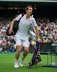 LONDON, ENGLAND - Tuesday, June 26, 2012: Andy Murray (GBR) leaves the court after winning the Gentlemen's Singles 1st Round match on day two of the Wimbledon Lawn Tennis Championships at the All England Lawn Tennis and Croquet Club. (Pic by David Rawcliffe/Propaganda)