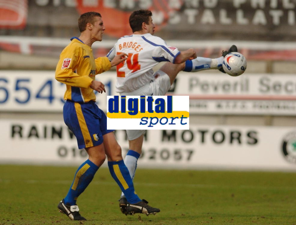 Photo: Leigh Quinnell.<br /> Mansfield Town v Carlisle United. Coca Cola League 2. 22/04/2006. Carlises Michael Bridges scores but the goal is not given.