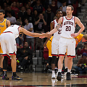 31 January 2017:  The San Diego State Aztecs men's basketball team hosts Wyoming Tuesday night at Viejas Arena. San Diego State forward Matt Shrigley (20) is congratulated by a teammate after stealing the ball and being followed in the ensuing basket attempt late in the first half. The Aztecs lead the Cowboys 31-27 at half time. www.sdsuaztecphotos.com