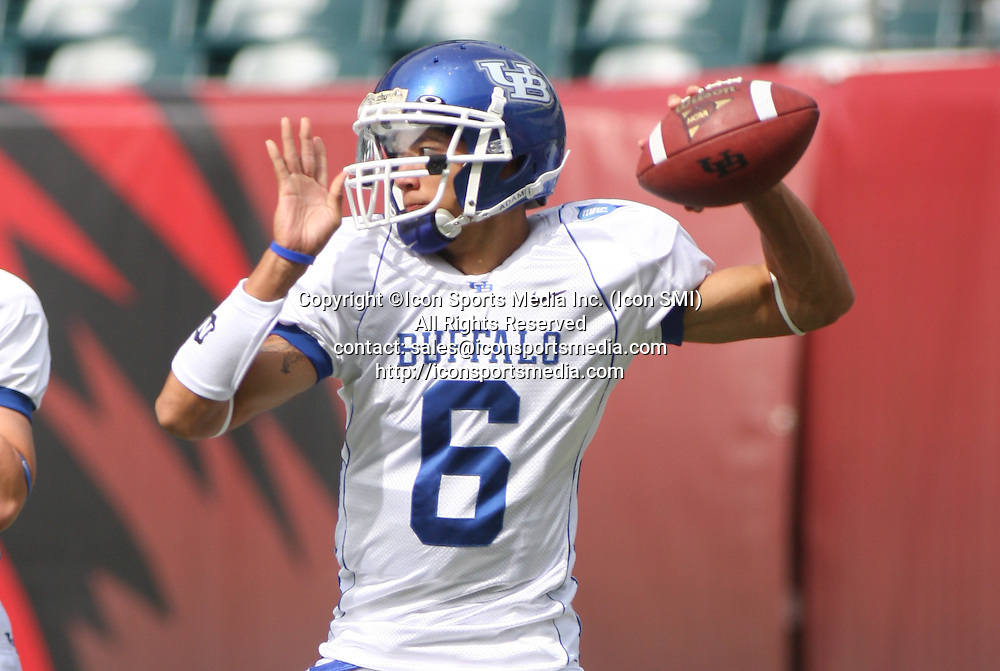26 September 2009: Buffalo quarterback Zach Maynard throws a pass during warmups before Temple University's 37-13 win against Buffalo University at Lincoln Financial Field in Philadelphia, Pennsylvania.