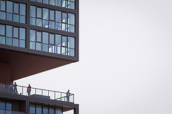 June 3, 2017 - Bydgoszcz, Poland - People are seen taking in the view of the city from the recently completed Nordic Haven apartment building in the center of Bydgoszcz, Poland on 3 June, 2017. (Credit Image: © Jaap Arriens/NurPhoto via ZUMA Press)