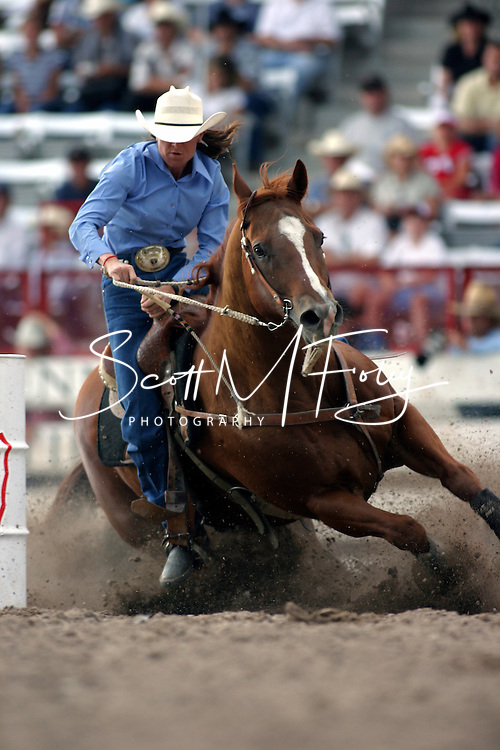 Barrel Racing Cowgirl, 2004 Cheyenne Frontier Days Rodeo, Cheyenne WY, July 2004