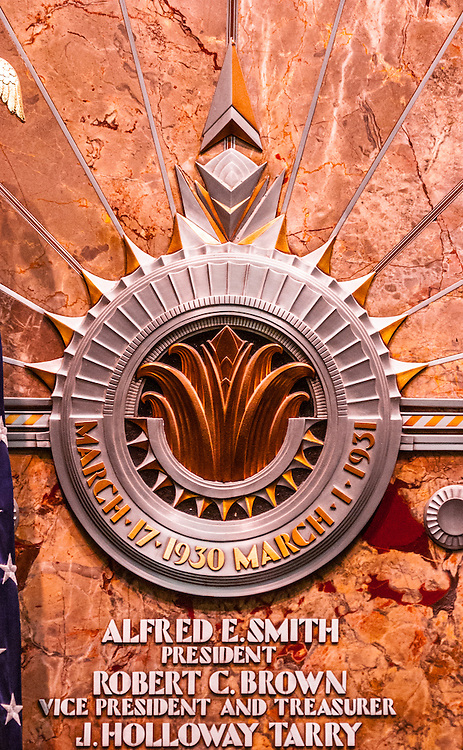 Detail of an Art Deco bas-relief in the Empire State Building's opulent. lobby, commermorating the spectacularly rapid construction of the towering building -- then the tallest in the world -- in just twelve months, from March 1930 to March 1931.
