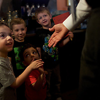 PHILADELPHIA, PA - April 25, 2016.  Repubican presidential hopeful John Kasich greets 2-5 year olds from First Impressions Nursery during a visit to the Penrose Diner in Philadelphia, PA on April 25, 2016.  In an effort to limit Donald Trump's delegate haul, last night the Ohio Governor announced a pact with Tex Sen. Ted Cruz agreeing to not campaign in Indiana, with Cruz not campaigning in Oregon and New Mexico.  The Pennsylvania Primary takes place tomorrow.  CREDIT: Mark Makela for The New York Times