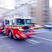 Firefighter truck on Fifth Avenue.