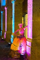A fashion show of Takasami (designer Maria Rosario Mendoza) at the Cabañas Cultural Institute in the historic center of Guadalajara, Mexico