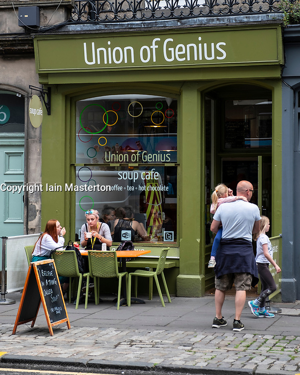 Exterior of Union of Genius cafe in Old Town of Edinburgh, Scotland, UK