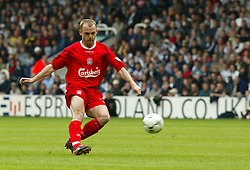 WEST BROMWICH, ENGLAND - Saturday, April 26, 2003: Liverpool's Danny Murphy takes a free-kick West Bromwich Albion during the Premiership match at the Hawthorns. (Pic by David Rawcliffe/Propaganda)