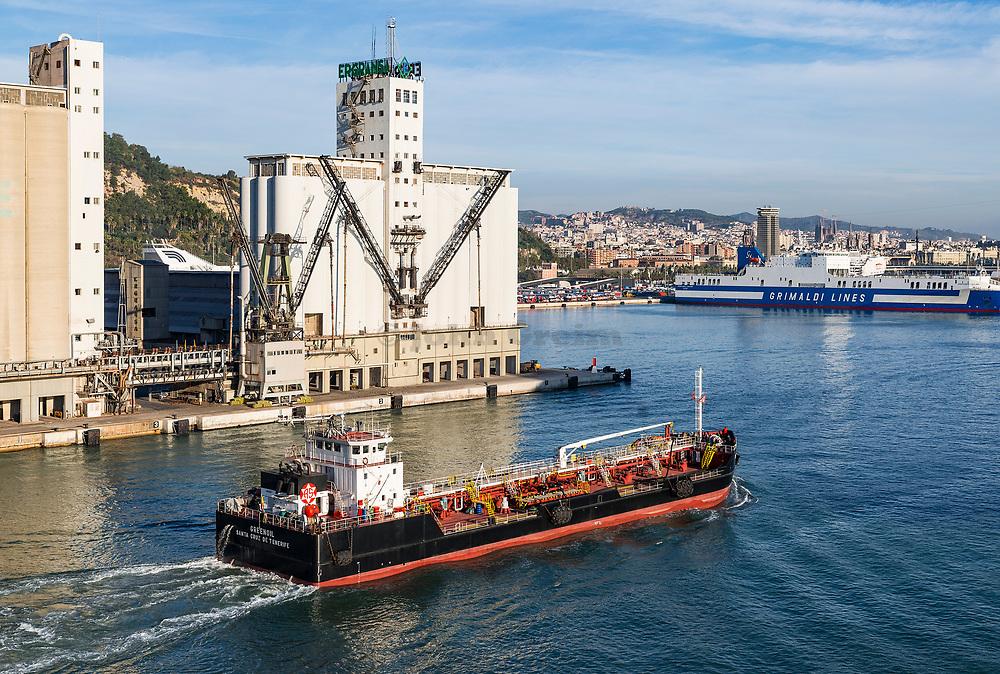 Oil tanker entering Barcelona harbor, Catalonia, Spain.