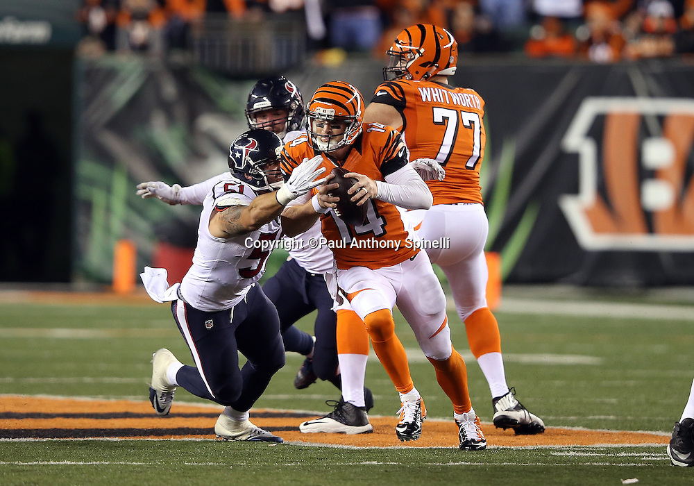 Cincinnati Bengals quarterback Andy Dalton (14) gets chased and sacked by Houston Texans outside linebacker John Simon (51) with less than two minutes left in the fourth quarter during the 2015 week 10 regular season NFL football game against the Houston Texans on Monday, Nov. 16, 2015 in Cincinnati. The Texans won the game 10-6. (©Paul Anthony Spinelli)