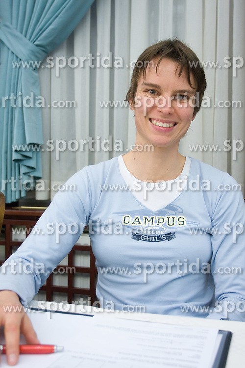 Teja Gregorin at press conference when she has signed a contract with IOC and OKS for 16 months long sponsorship (1500 $ monthly) till Olympic games in Vancouver 2010, on December 22, 2008, Grand hotel Union, Ljubljana, Slovenia. (Photo by Vid Ponikvar / SportIda).