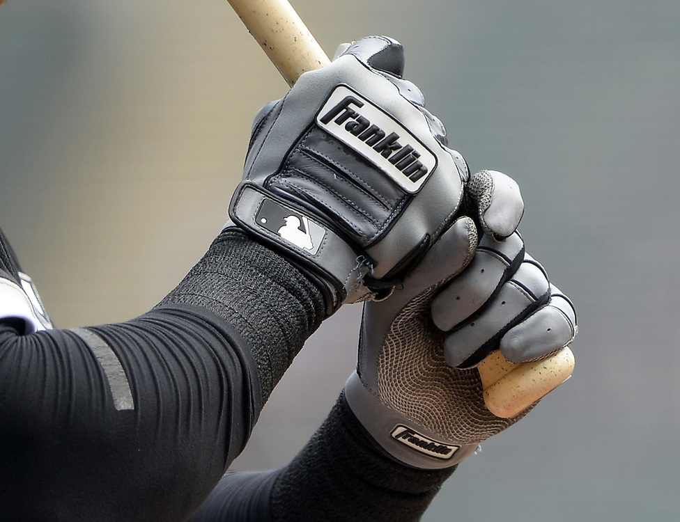 CHICAGO - APRIL 26:  A detailed close up view of a Franklin batting glove as worn by Avisail Garcia #26 of the Chicago White Sox during the game against the Kansas City Royals on April 26, 2017 at Guaranteed Rate Field in Chicago, Illinois.  The White Sox defeated the Royals 5-2.  (Photo by Ron Vesely)   Subject:  Avisail Garcia