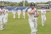 Alex Lees 149* at Tea during the Specsavers County Champ Div 2 match between Durham County Cricket Club and Leicestershire County Cricket Club at the Emirates Durham ICG Ground, Chester-le-Street, United Kingdom on 18 August 2019.