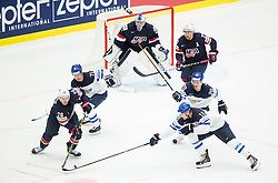 Jeremy Morin of USA vs Aleksander Barkov of Finland during Ice Hockey match between USA and Finland at Day 1 in Group B of 2015 IIHF World Championship, on May 1, 2015 in CEZ Arena, Ostrava, Czech Republic. Photo by Vid Ponikvar / Sportida