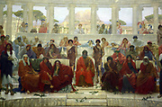 William Blake Richmond 1843-1921 'An audience in Athens during the representation of the Agamemnon' 1884. The picture depicts the auditorium of the theatre at Athens, as seen from the stage, during a performance of Agamemnon by Aeschylus