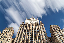 March 27, 2019 - Moscow, Moscow, Russia - The Ministry of Foreign Affairs of Russia main building is one of seven Stalinist skyscrapers, designed and overseen by Vladimir Gelfreykh and Adolf Minkus. .32/34 Smolenskaya-Sennaya pl, Moscow, Russia. (Credit Image: © Russian Look via ZUMA Wire)