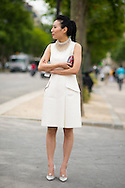 Dior Pearl Necklace and White Dress, Outside the Couture Show