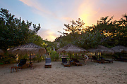 Thailand, Ko Kradan. The Sevenseas Resort at sunset.