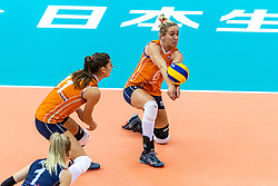 07-10-2018 JPN: World Championship Volleyball Women day 8, Nagoya<br /> Netherlands - Puerto Rico 3-0 / Anne Buijs #11 of Netherlands, Maret Balkestein-Grothues #6 of Netherlands