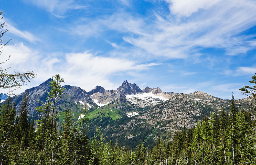 Cutthroat peak and Whistler Mountain in the North Cascades of Washington as seen from the Blue Lake Trail near Washington Pass.
