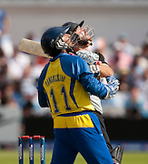 Captain Kumar Sangakkara watches his counterpart Daniel Vettori get out during the ICC World Twenty20 Cup match between New Zealand and Sri Lanka at Trent Bridge. Photo © Graham Morris (Tel: +44(0)20 8969 4192 Email: sales@cricketpix.com)