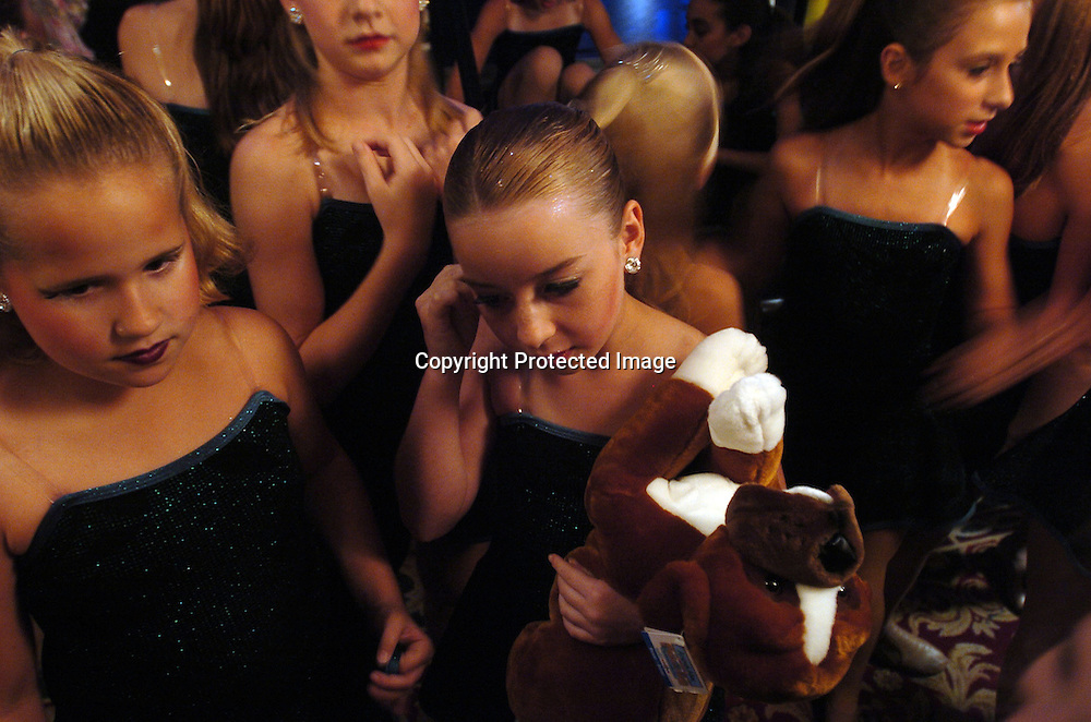 Dancers wait to perform at the New York Dance Alliance's national competition finale July 10, 2005 in New York City.<br /> <br /> Photo by Keith Bedford