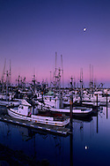 Moonset at dawn over commercial fishing boats in harbor docks, Crescent City, California