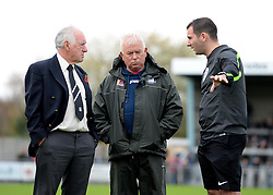 Referee Tim Robinson speaks to Groundman's Bob Flaskett and also Board Member Dennis Usher  - Photo mandatory by-line: Alex James/JMP - Mobile: 07966 386802 - 08/11/2014 - SPORT - Football - Weston-super-Mare - Woodspring Stadium - Weston-super-Mare v Doncaster - FA Cup - Round One