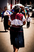 Traditional indigenous dress on the streets of San Cristóbal