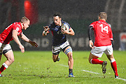 Hong Kong player Tyler Spitz finds a gap in the first half during the Rugby World Cup qualifier between Hong Kong and Canada at Stade Delort, Marseilles, France on 23 November 2018. Picture by Ian  Muir.