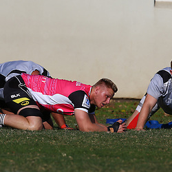 DURBAN, SOUTH AFRICA, 30 August, 2016, Jean-Luc du Preez with Daniel Du Preez during The Cell C Sharks Currie Cup training session at Growthpoint Kings Park in Durban, South Africa. (Photo by Steve Haag)<br /> <br /> images for social media must have consent from Steve Haag