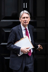© Licensed to London News Pictures. 07/02/2018. London, UK. The Chancellor of The Exchequer Philip Hammond leaves 11 Downing Street shortly before Prime Minister's Questions. Photo credit: Rob Pinney/LNP