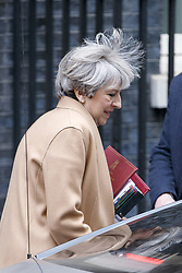 April 26, 2017 - London, London, UK - London, UK. Prime Minister THERESA MAY leaves Downing Street to attend Prime Minister's Question Time in House of Commons in London on 26 April 2017. (Credit Image: © Tolga Akmen/London News Pictures via ZUMA Wire)