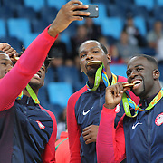 Basketball - Olympics: Day 16  USA players pose for picture of themselves, from left, Harrison Barnes #8, Jimmy Butler #4, Kevin Durant #5 and Draymond Green #14 of United States during the USA Vs Serbia Men's Basketball Gold Medal game at Carioca Arena1on August 21, 2016 in Rio de Janeiro, Brazil. (Photo by Tim Clayton/Corbis via Getty Images)
