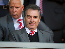 LIVERPOOL, ENGLAND - Wednesday, August 17, 2011: Liverpool's academy technical manager Jose Segura watches his side take on Sporting Clube de Portugal during the first NextGen Series Group 2 match at Anfield. (Pic by David Rawcliffe/Propaganda)