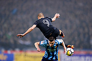 SOLNA, SWEDEN - MARCH 18: Rasmus Lindkvist of AIK is tackled by Haris Radetinac of Djurgardens IF during the Swedish Cup Semifinal between AIK and Djurgardens IF at Friends arena on March 18, 2018 in Solna, Sweden. Photo by Nils Petter Nilsson/Ombrello ***BETALBILD***