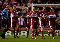 Photo: Jed Wee.<br />Middlesbrough v Dnipro. UEFA Cup. 03/11/2005.<br /><br />Middlesbrough celebrate with goalscorer Mark Viduka (L).