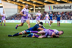 Stuart Hogg of Exeter Chiefs scores a try - Mandatory by-line: Robbie Stephenson/JMP - 08/12/2019 - RUGBY - AJ Bell Stadium - Manchester, England - Sale Sharks v Exeter Chiefs - Heineken Champions Cup