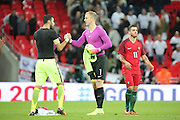England goalkeeper, Joe Hart (01) swapping shirts with Portugal goalkeeper, Rui Patricio (01) during the Friendly International match between England and Portugal at Wembley Stadium, London, England on 2 June 2016. Photo by Matthew Redman.